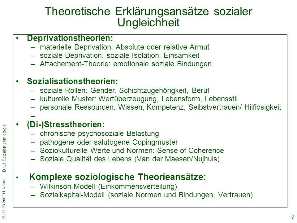 Theoretische Erklärungsansätze sozialer Ungleichheit