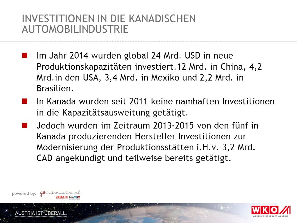 Investitionen in die kanadischen automobilindustrie