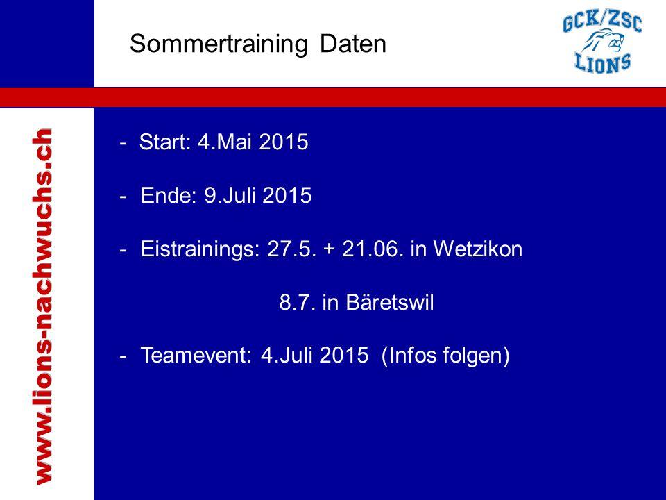 Traktanden Sommertraining Daten www.lions-nachwuchs.ch