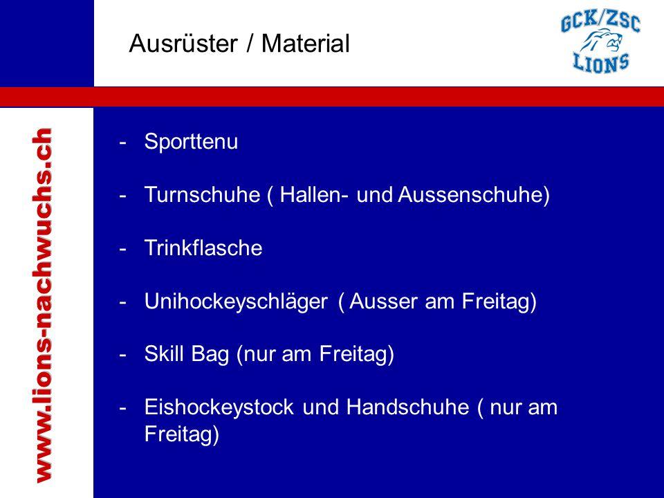 Traktanden Ausrüster / Material www.lions-nachwuchs.ch Sporttenu