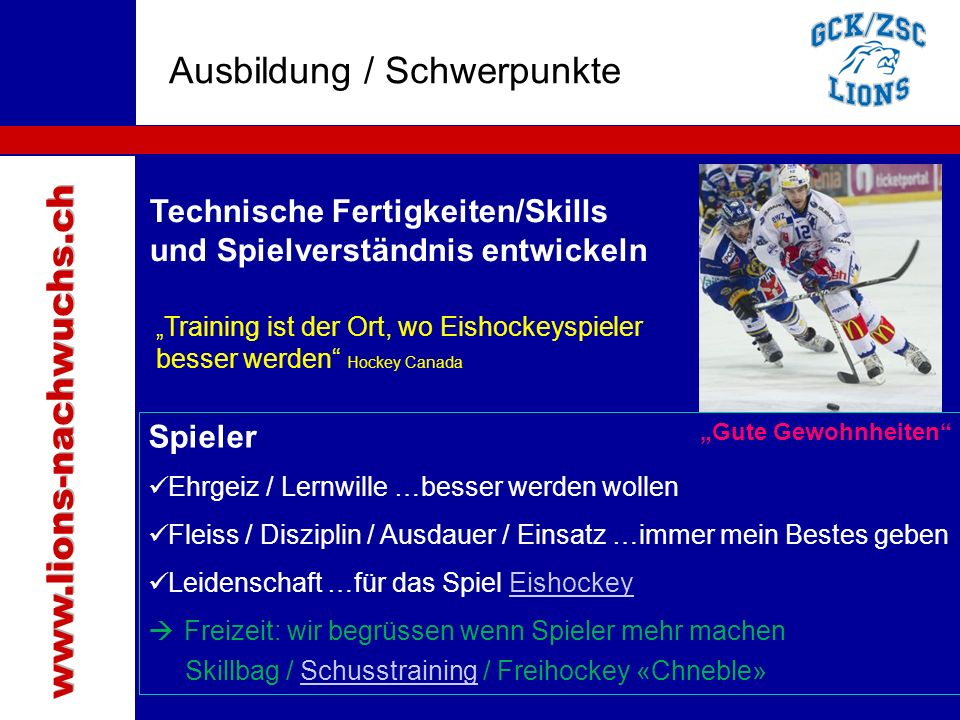 Traktanden Ausbildung / Schwerpunkte www.lions-nachwuchs.ch
