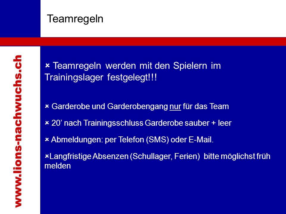Teamregeln www.lions-nachwuchs.ch