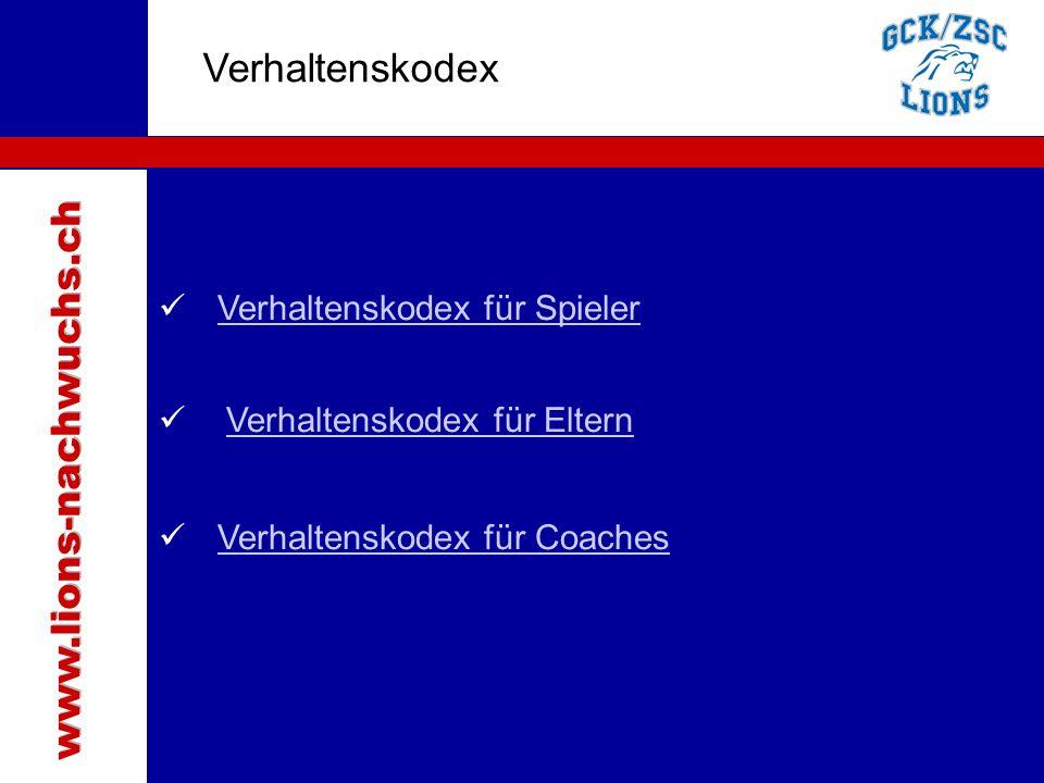 Traktanden Verhaltenskodex www.lions-nachwuchs.ch