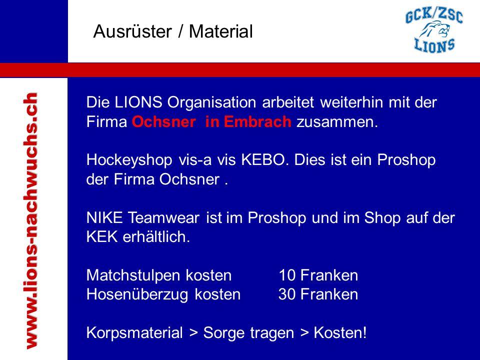 Traktanden Ausrüster / Material www.lions-nachwuchs.ch