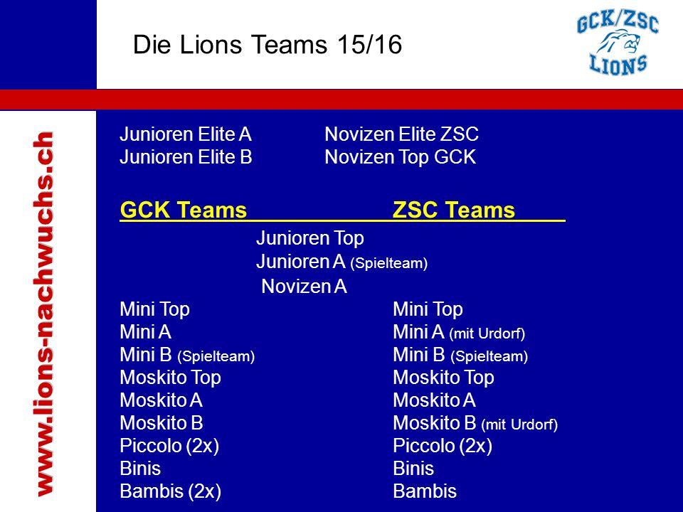 Traktanden Die Lions Teams 15/16 www.lions-nachwuchs.ch