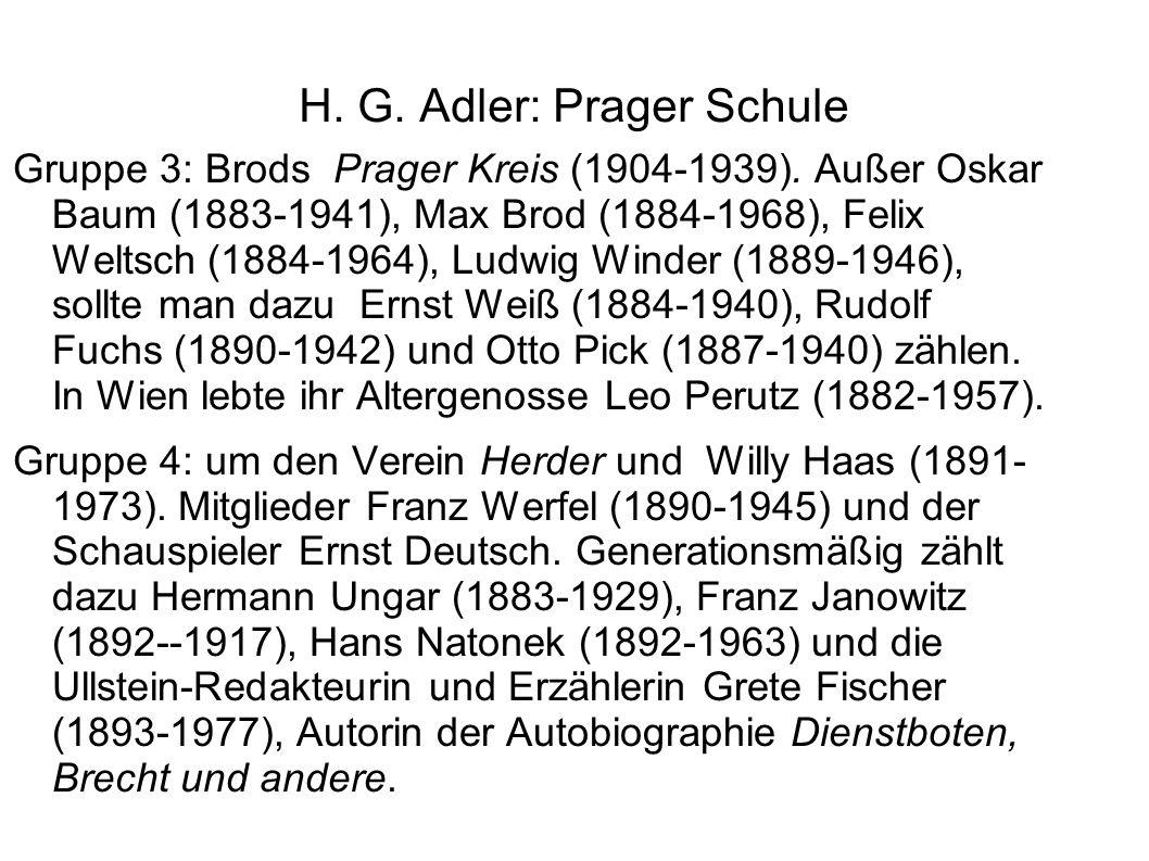 H. G. Adler: Prager Schule