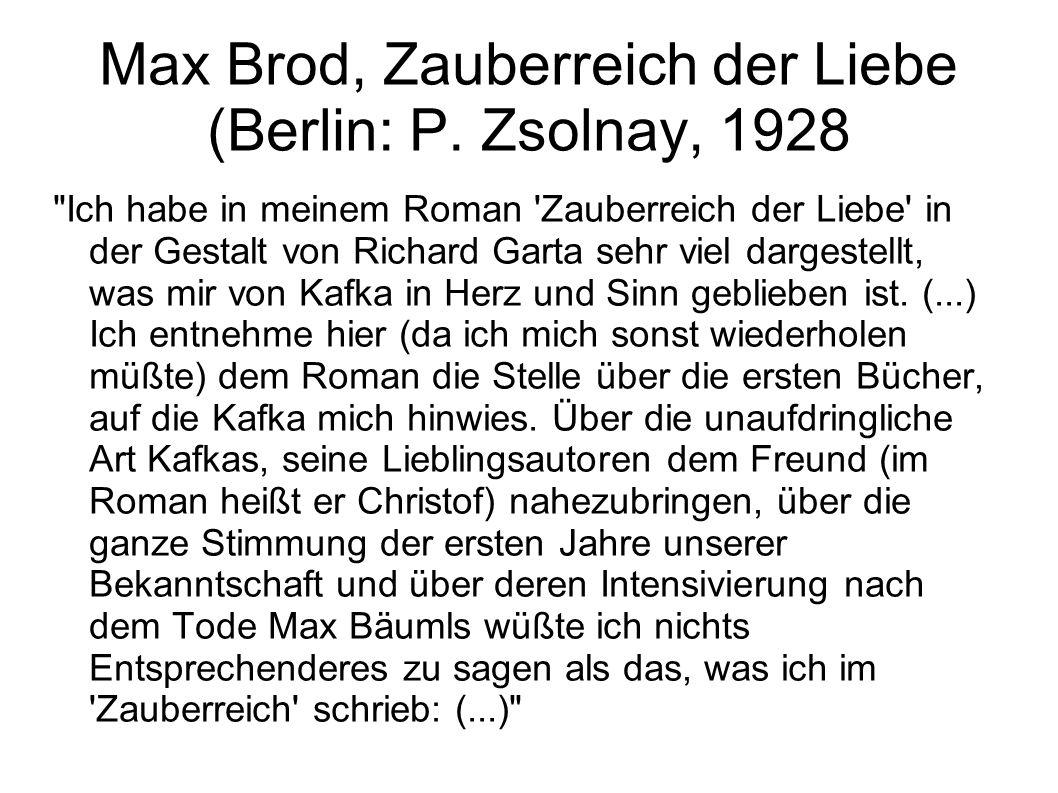 Max Brod, Zauberreich der Liebe (Berlin: P. Zsolnay, 1928