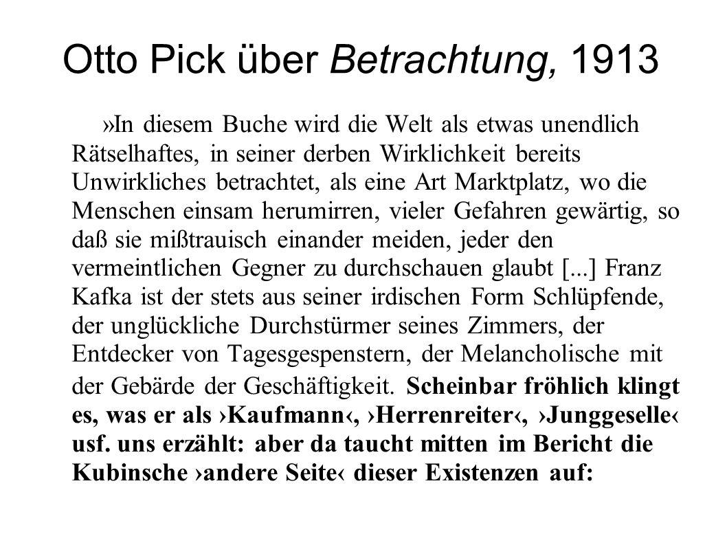 Otto Pick über Betrachtung, 1913