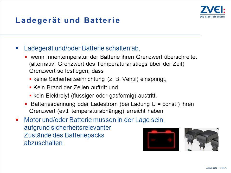 Ladegerät und Batterie