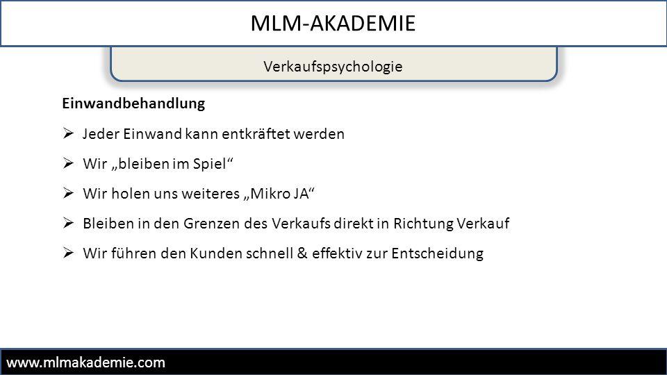 MLM-AKADEMIE Verkaufspsychologie Einwandbehandlung