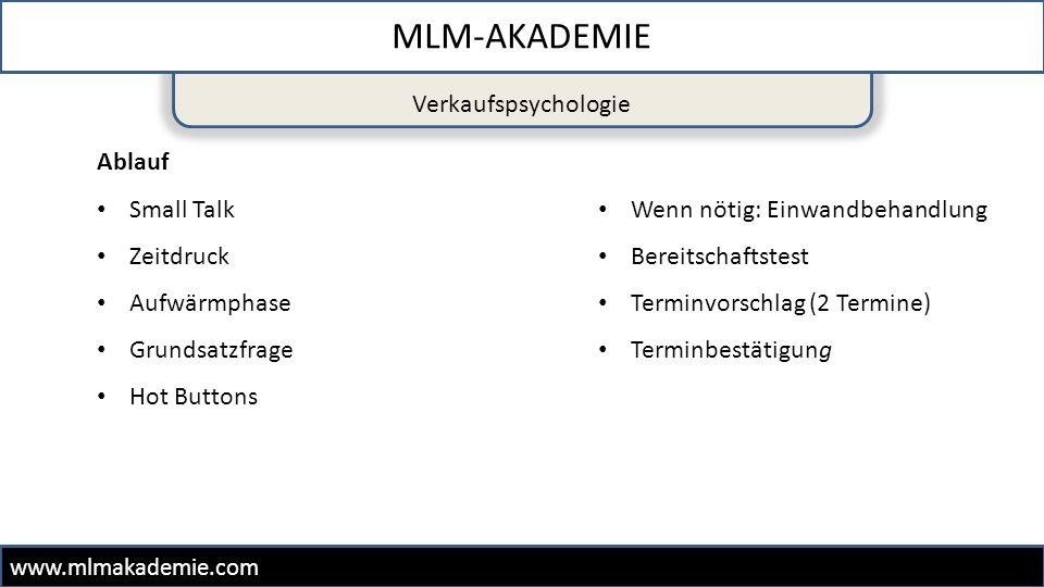 MLM-AKADEMIE Verkaufspsychologie Ablauf Small Talk Zeitdruck