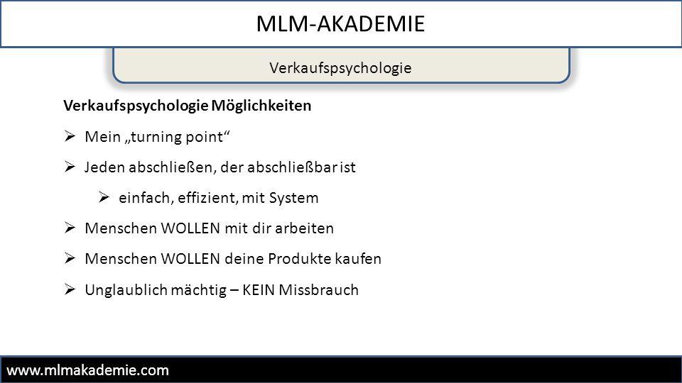 MLM-AKADEMIE Verkaufspsychologie Verkaufspsychologie Möglichkeiten