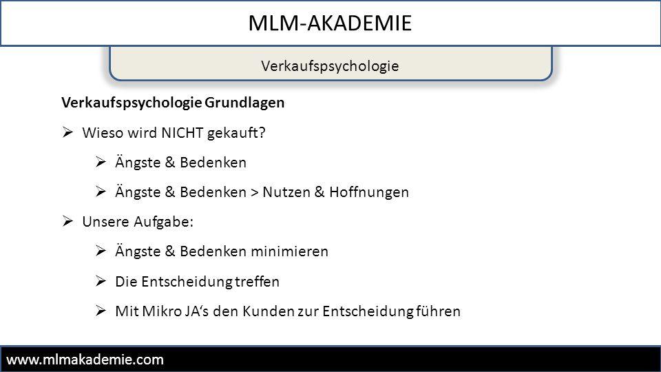 MLM-AKADEMIE Verkaufspsychologie Verkaufspsychologie Grundlagen