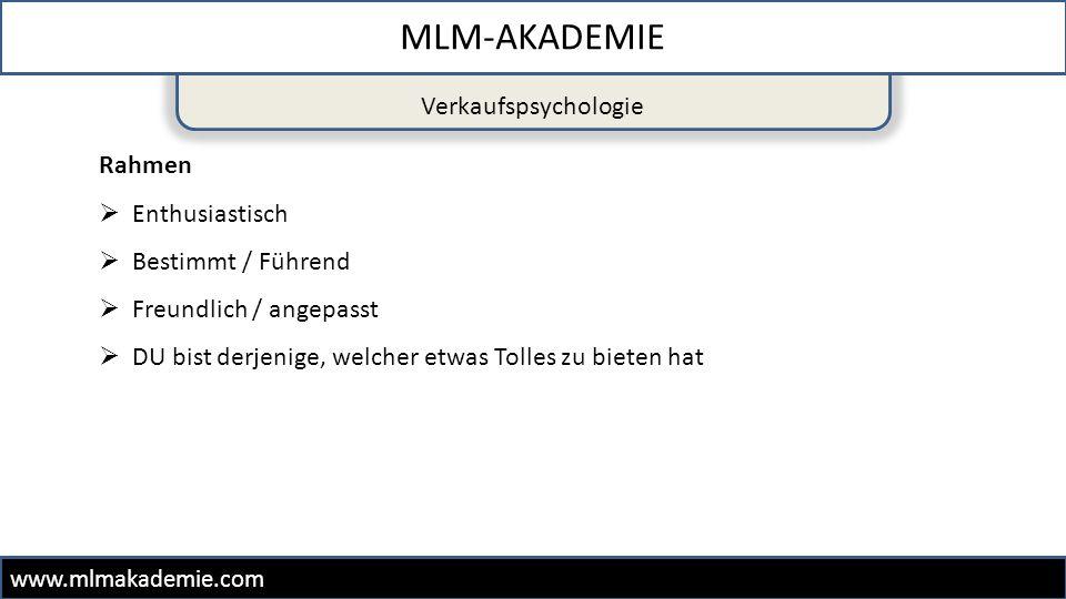MLM-AKADEMIE Verkaufspsychologie Rahmen Enthusiastisch