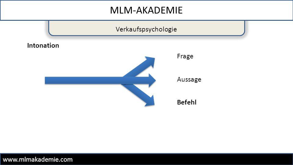 MLM-AKADEMIE Verkaufspsychologie Intonation Frage Aussage Befehl