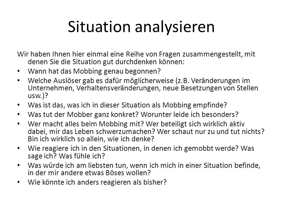 Situation analysieren