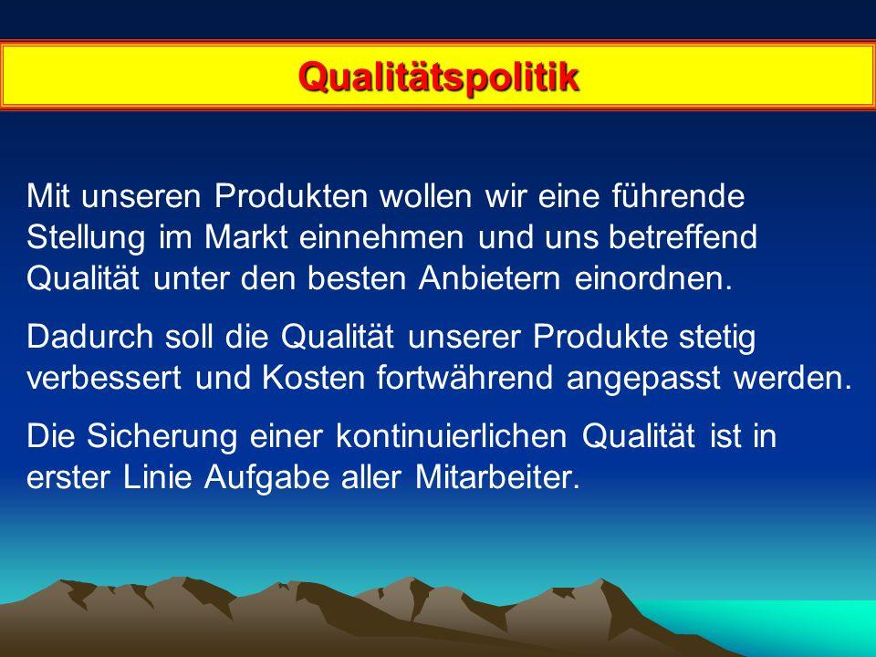 Qualitätspolitik Mit unseren Produkten wollen wir eine führende