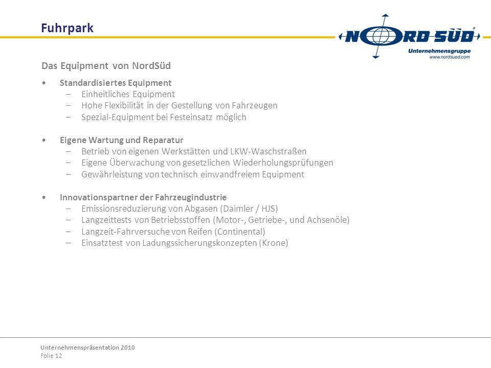 Fuhrpark Das Equipment von NordSüd Standardisiertes Equipment