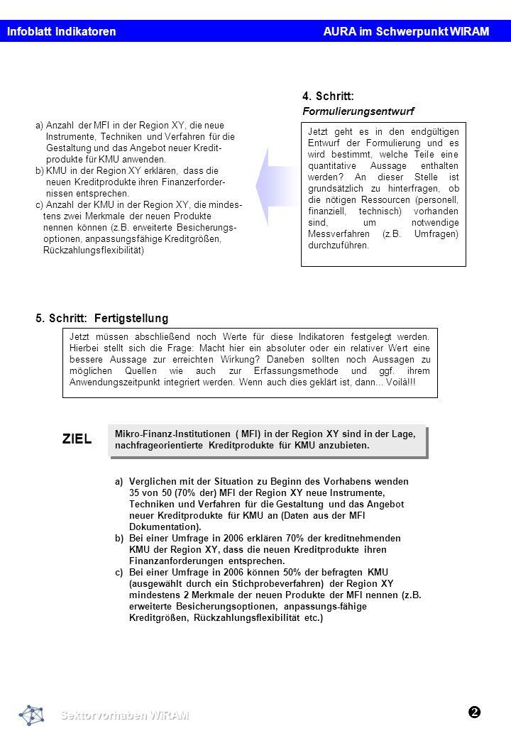  ZIEL Infoblatt Indikatoren AURA im Schwerpunkt WIRAM 4. Schritt: