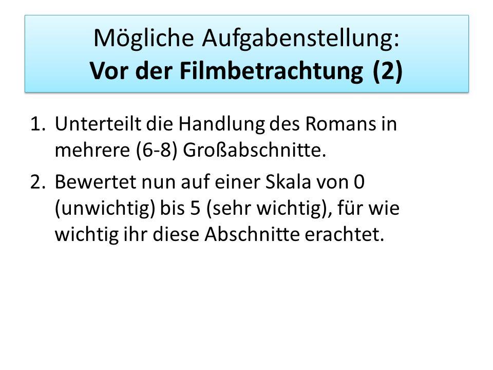 Mögliche Aufgabenstellung: Vor der Filmbetrachtung (2)