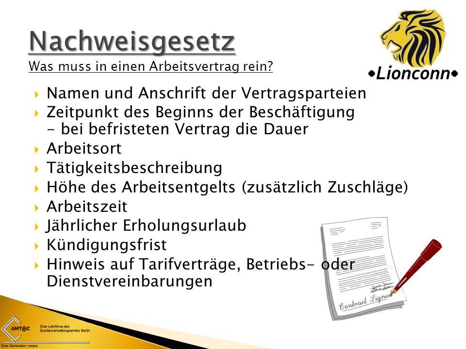 Nachweisgesetz Namen und Anschrift der Vertragsparteien