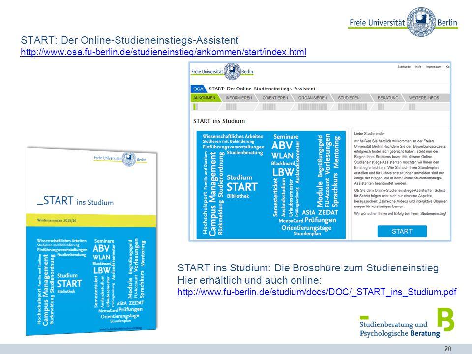 START ins Studium: Die Broschüre zum Studieneinstieg