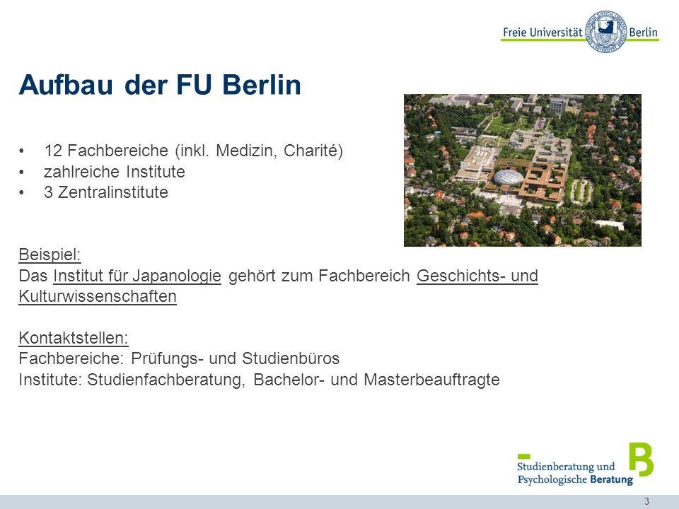 Aufbau der FU Berlin 12 Fachbereiche (inkl. Medizin, Charité)