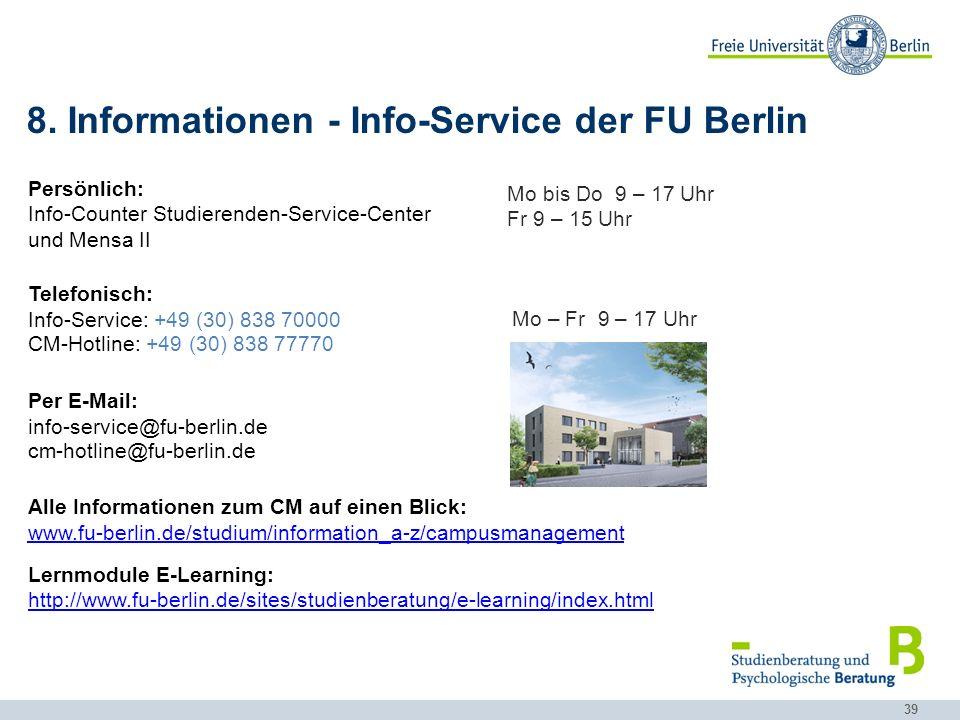 8. Informationen - Info-Service der FU Berlin