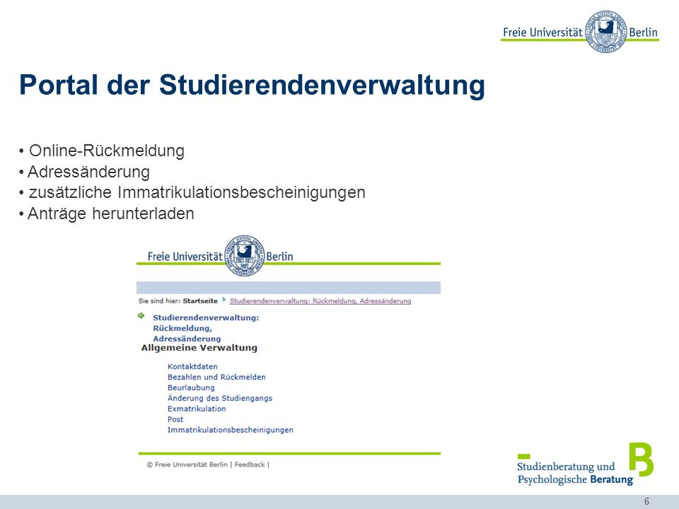 Portal der Studierendenverwaltung