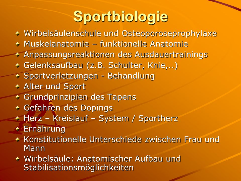 Sportbiologie Wirbelsäulenschule und Osteoporoseprophylaxe