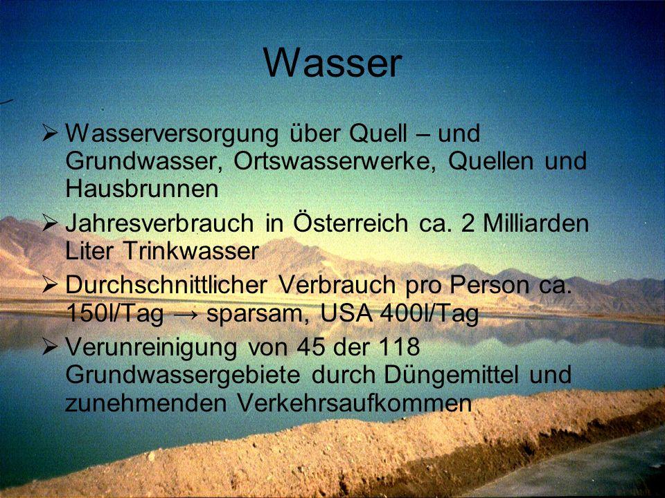 Wasser Wasserversorgung über Quell – und Grundwasser, Ortswasserwerke, Quellen und Hausbrunnen.