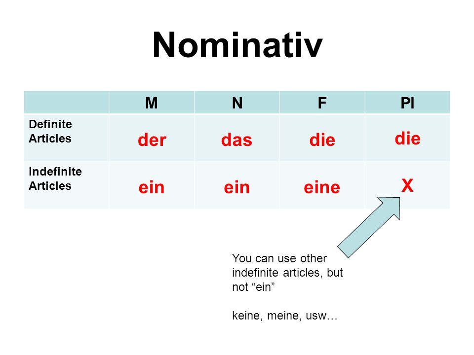 Nominativ der das die ein eine X M N F Pl Definite Articles