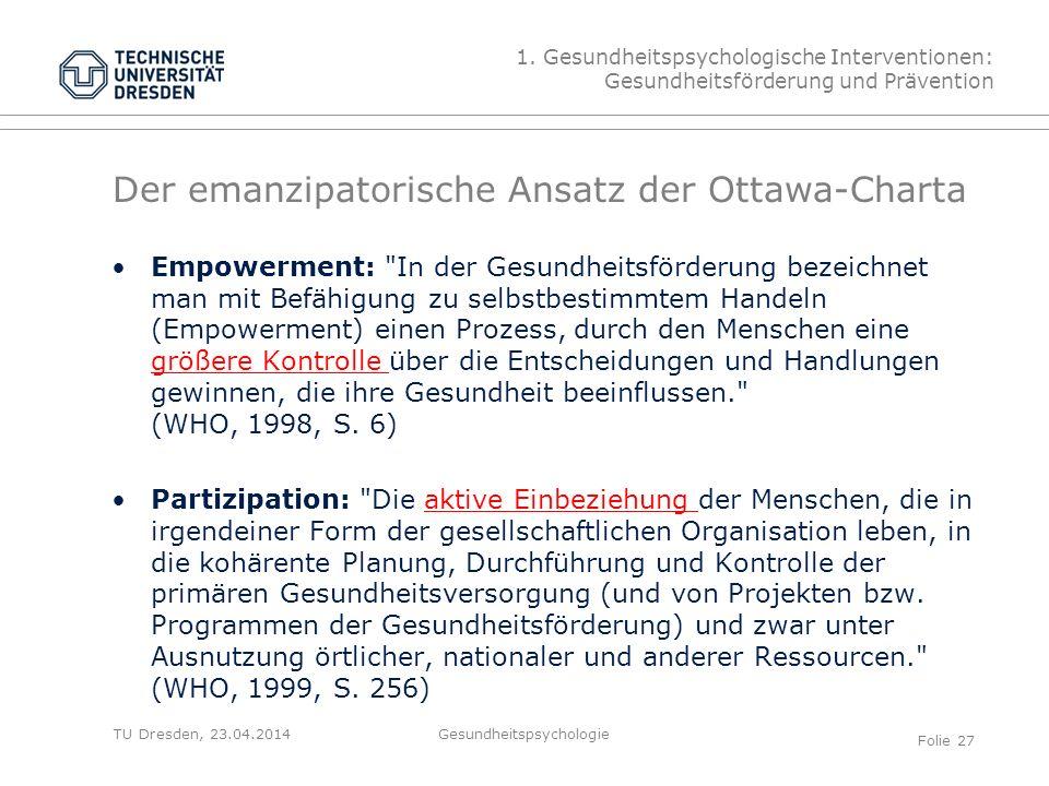 Der emanzipatorische Ansatz der Ottawa-Charta