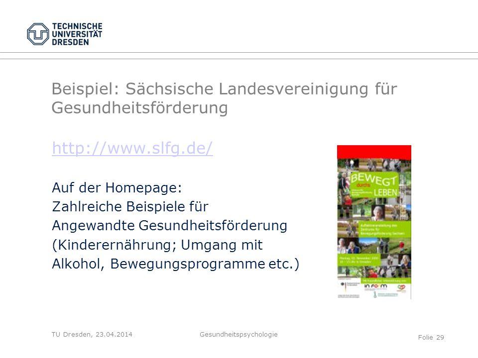 Beispiel: Sächsische Landesvereinigung für Gesundheitsförderung