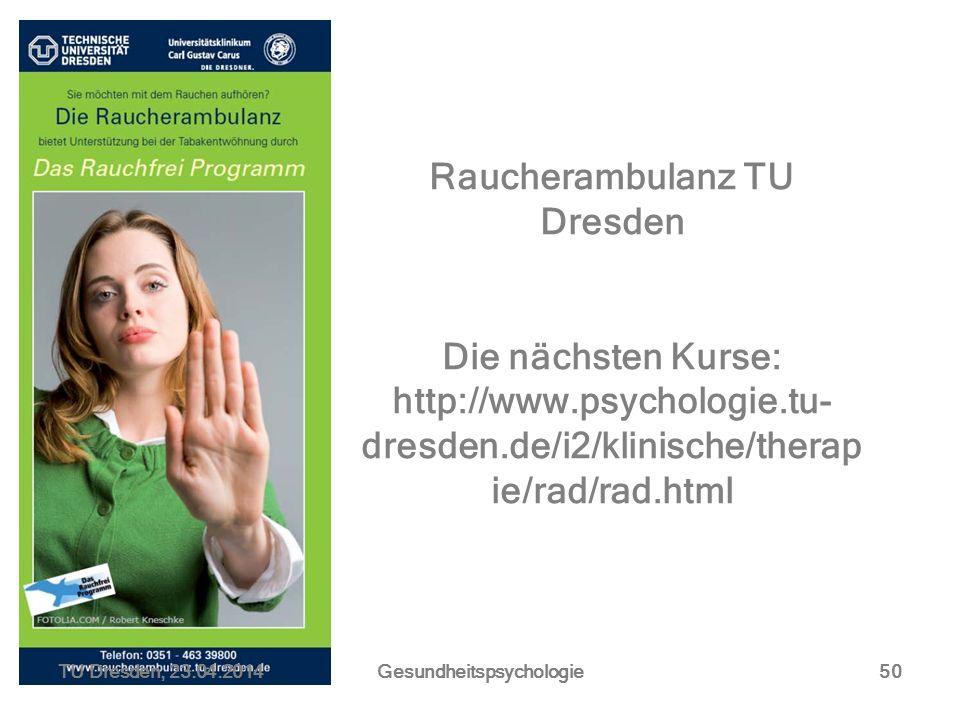 Raucherambulanz TU Dresden Gesundheitspsychologie