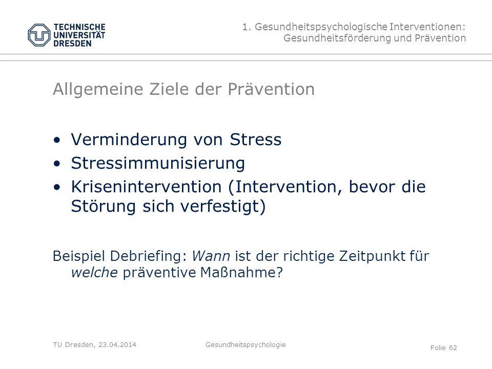 Allgemeine Ziele der Prävention