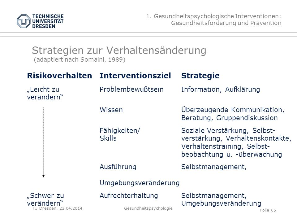 Strategien zur Verhaltensänderung (adaptiert nach Somaini, 1989)