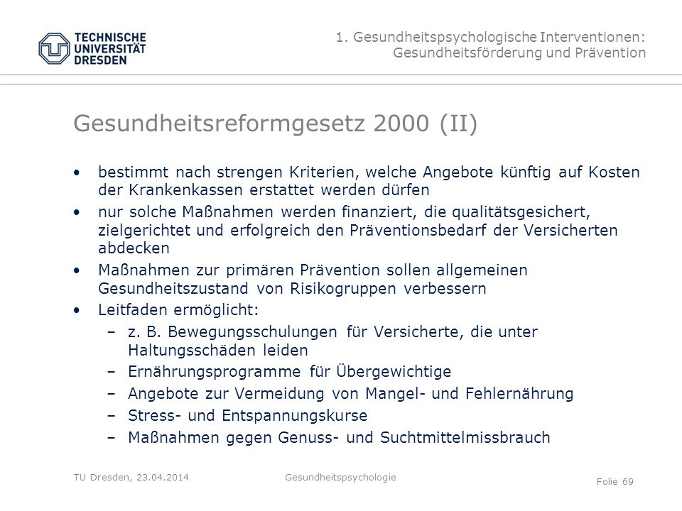 Gesundheitsreformgesetz 2000 (II)