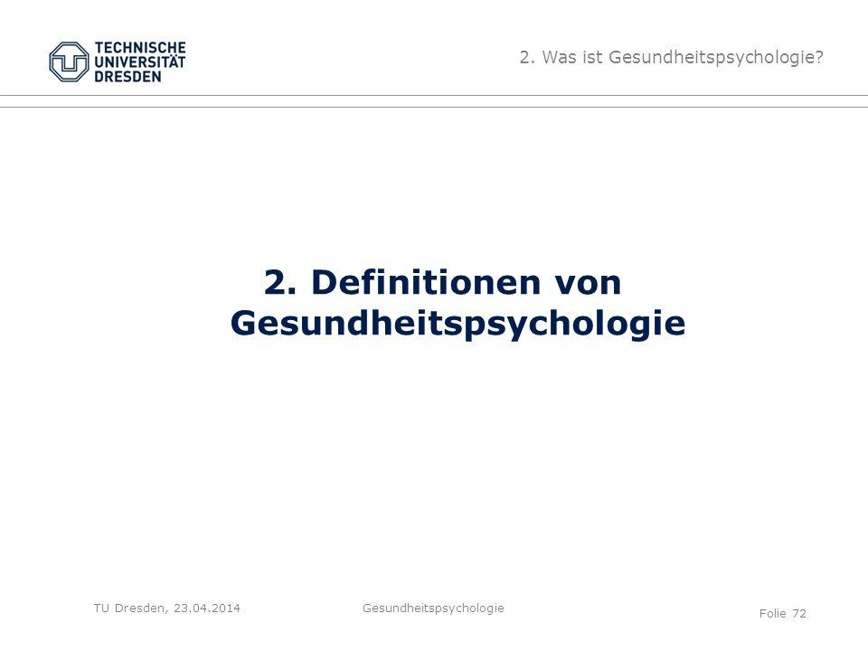2. Definitionen von Gesundheitspsychologie