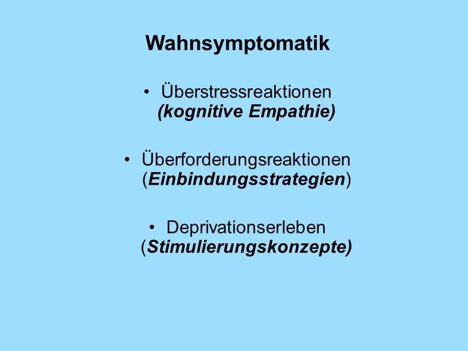 Wahnsymptomatik Überstressreaktionen (kognitive Empathie)