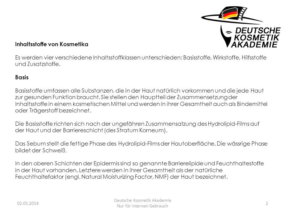 Deutsche Kosmetik Akademie Nur für internen Gebrauch