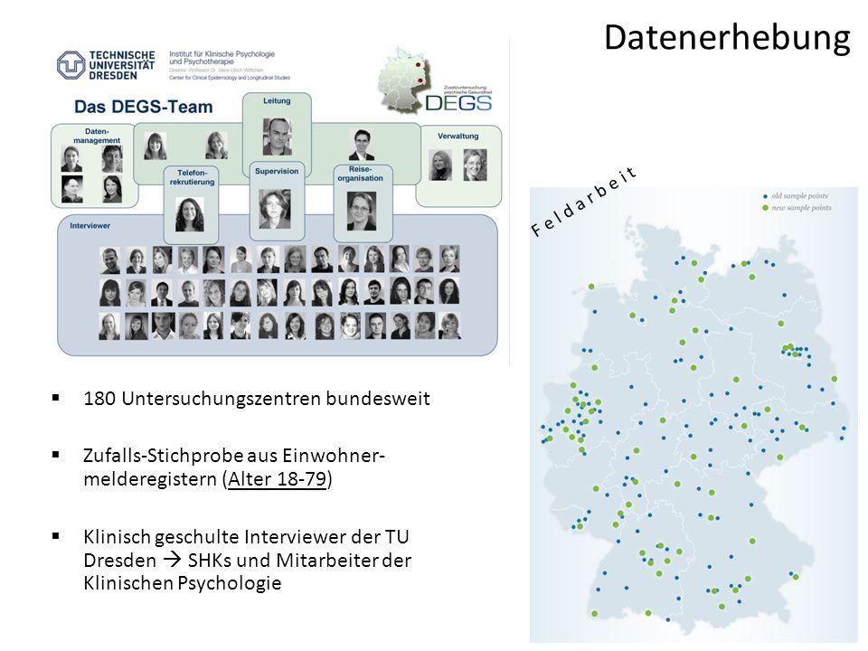 Datenerhebung 180 Untersuchungszentren bundesweit