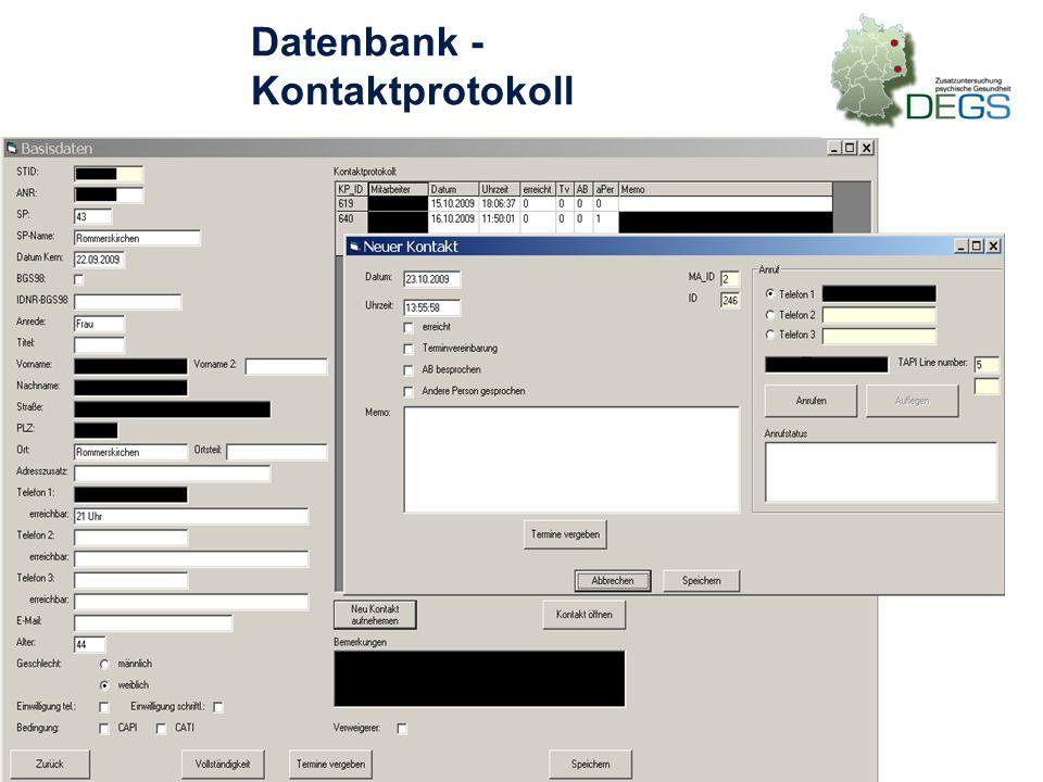 Datenbank - Kontaktprotokoll