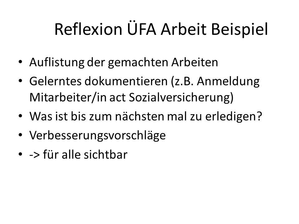 Reflexion ÜFA Arbeit Beispiel