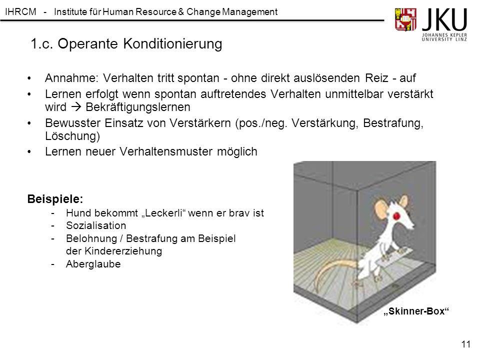 1.c. Operante Konditionierung