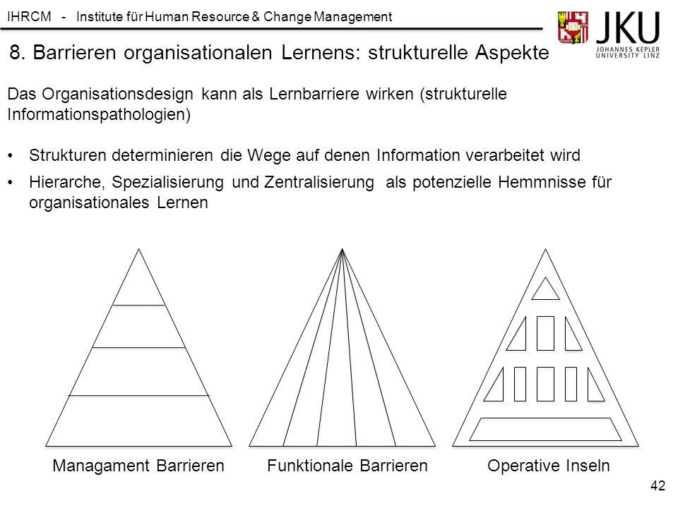 8. Barrieren organisationalen Lernens: strukturelle Aspekte