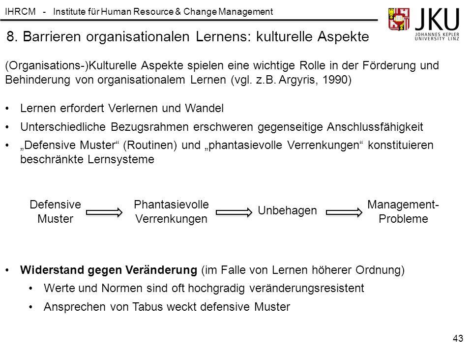 8. Barrieren organisationalen Lernens: kulturelle Aspekte