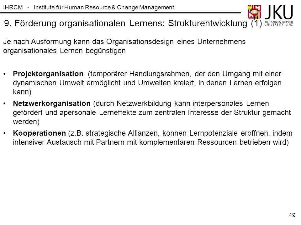 9. Förderung organisationalen Lernens: Strukturentwicklung (1)