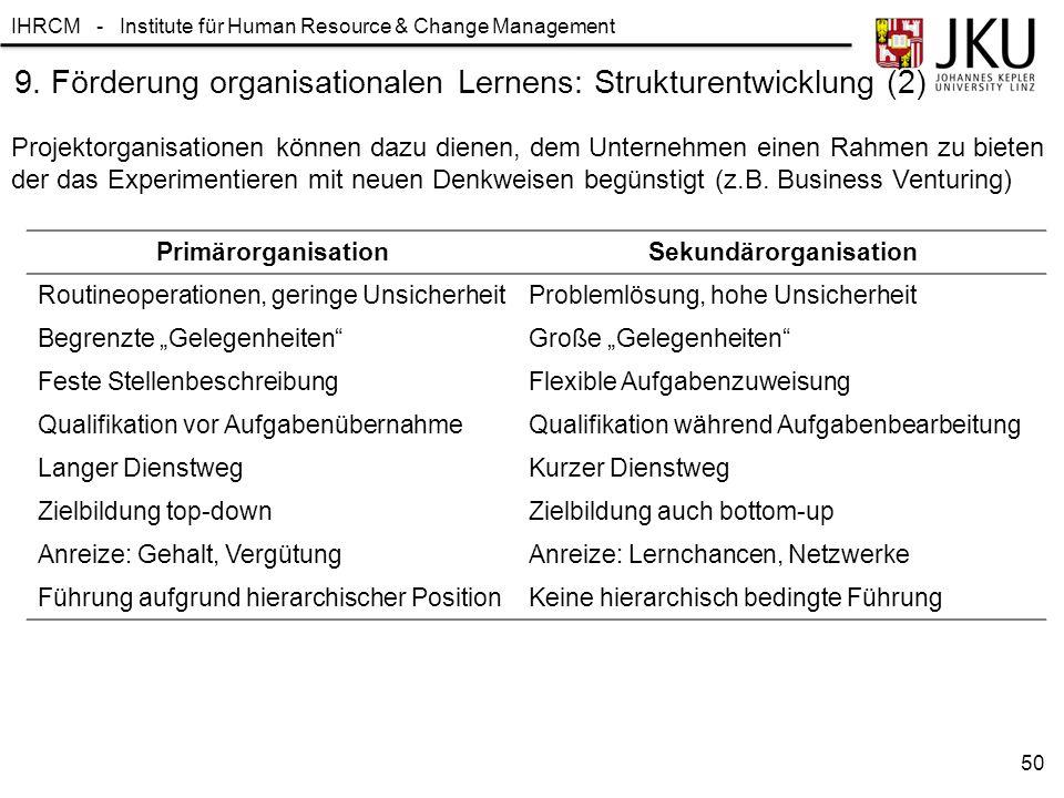 9. Förderung organisationalen Lernens: Strukturentwicklung (2)