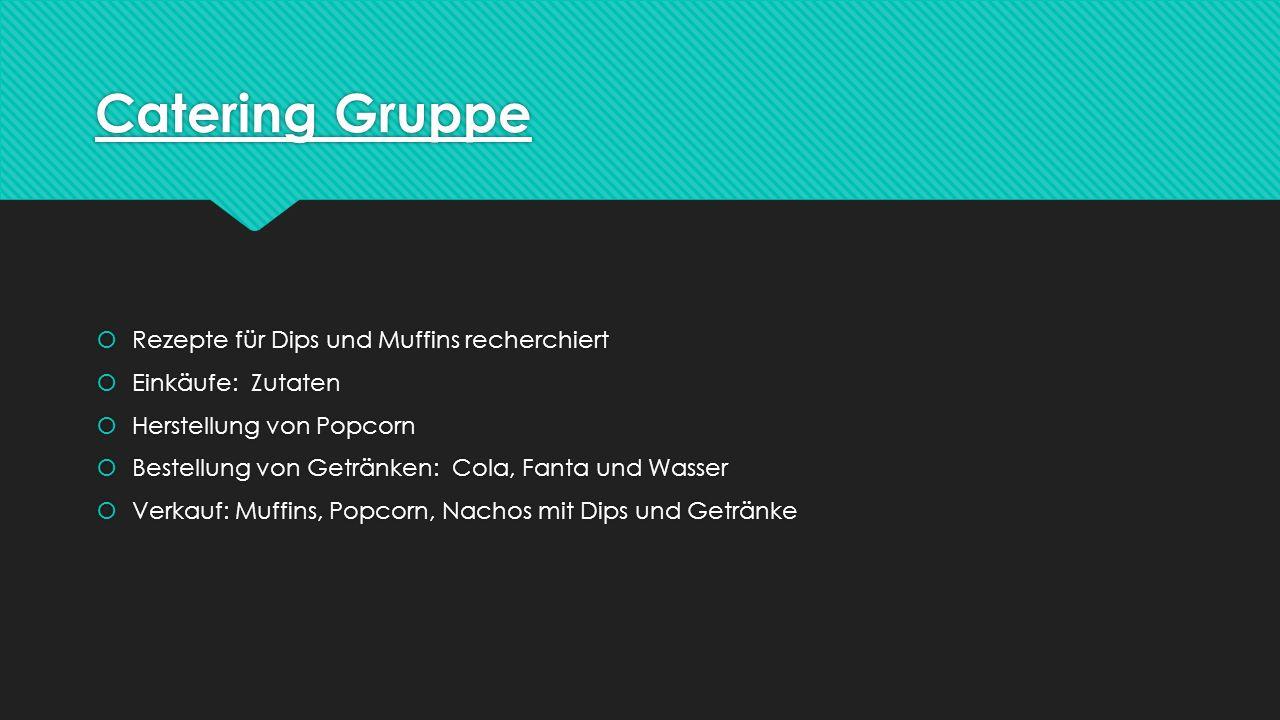 Catering Gruppe Rezepte für Dips und Muffins recherchiert